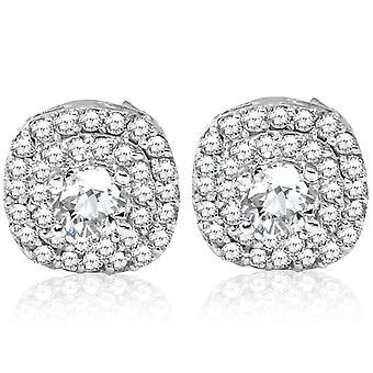 3/4ct Pave Double Halo Diamond Nastat 10K valkoinen kulta