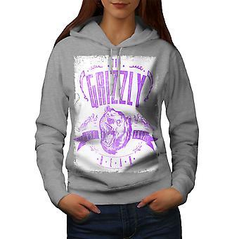 Grizzly Bear Club Women GreyHoodie   Wellcoda
