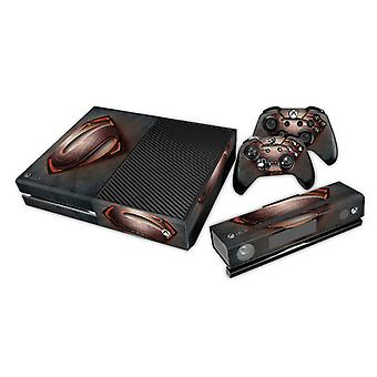 REYTID Console Skin / Sticker + 2 x Controller Decals & Kinect Wrap Compatible with Microsoft Xbox One - Full Set - Superman Black/Red