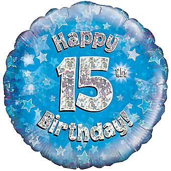 Октри 18-дюймовый счастливым 15 день рождения синий голографической шар