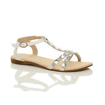 Ajvani naisten tasainen matala kantapää t-bar diamante helmiä nilkka hihna Kesä Sandaalit kengät