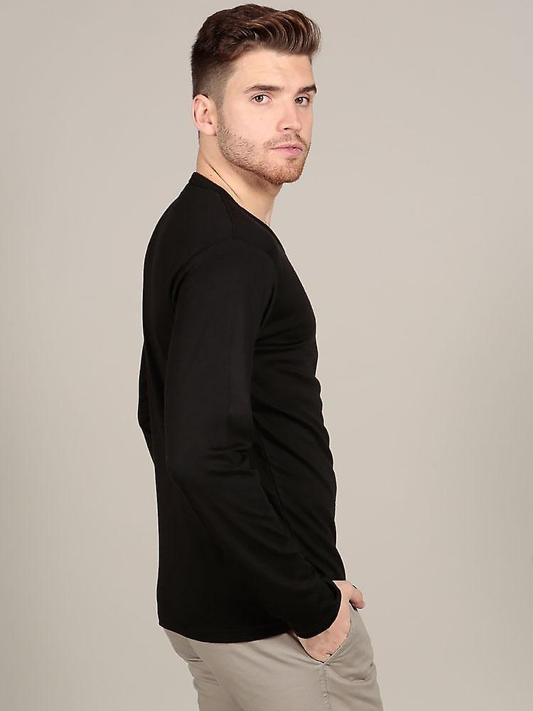 Long sleeve v neck - black