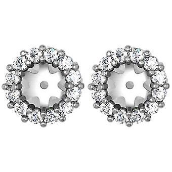 هالة 1/2 قيراط الماس حلق سترة 14 ك الذهب الأبيض يناسب 1/2 قيراط الحجارة (5-5.5 مم)