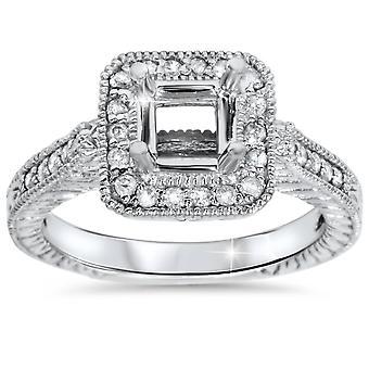 1 / 3ct Принцесса старинные вырезать обручальное кольцо настройки 14K Белое золото
