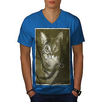 Vintage Cat Photo Funy Men Royal BlueV-Neck T-shirt   Wellcoda