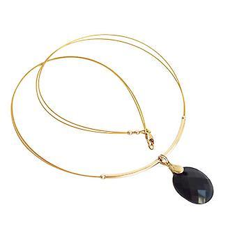 Gemshine - women's - gullbelagt - anheng - kjede - Onyx - svart - 45 cm
