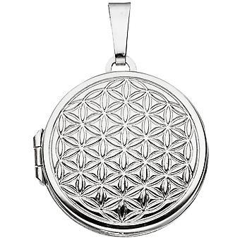 Medalhão em torno da vida flor 925 prata esterlina ródio chapeado para abrir 2 fotos