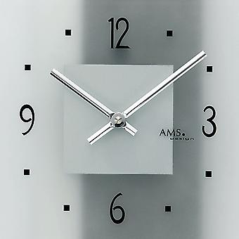 Wall clock quartz analog modern AMS 9442 with glass and synthetic leather