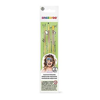 Snazaroo Unisex Face Painting Brushes - Green, Set of 3