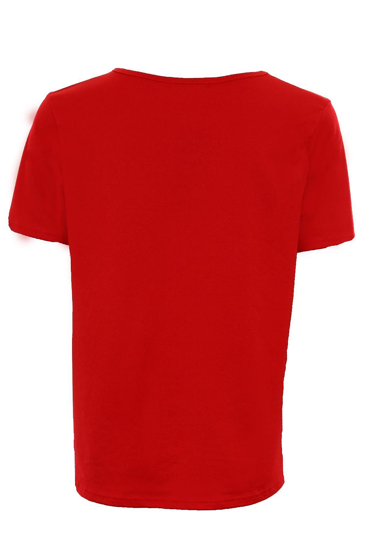 Ladies Plain Baggy Crape Stretch Tunic Short Sleeve Loose Women's Top T-Shirt