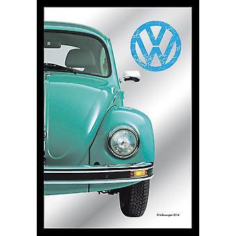 Mirror VW Beetle license decorative wall mirror print, Blue Beetle, plastic framing black, wood look.