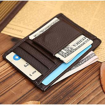 Brown Genuine Real Leather Magnetic Money Clip Cash And Card ID Slim Holder UK