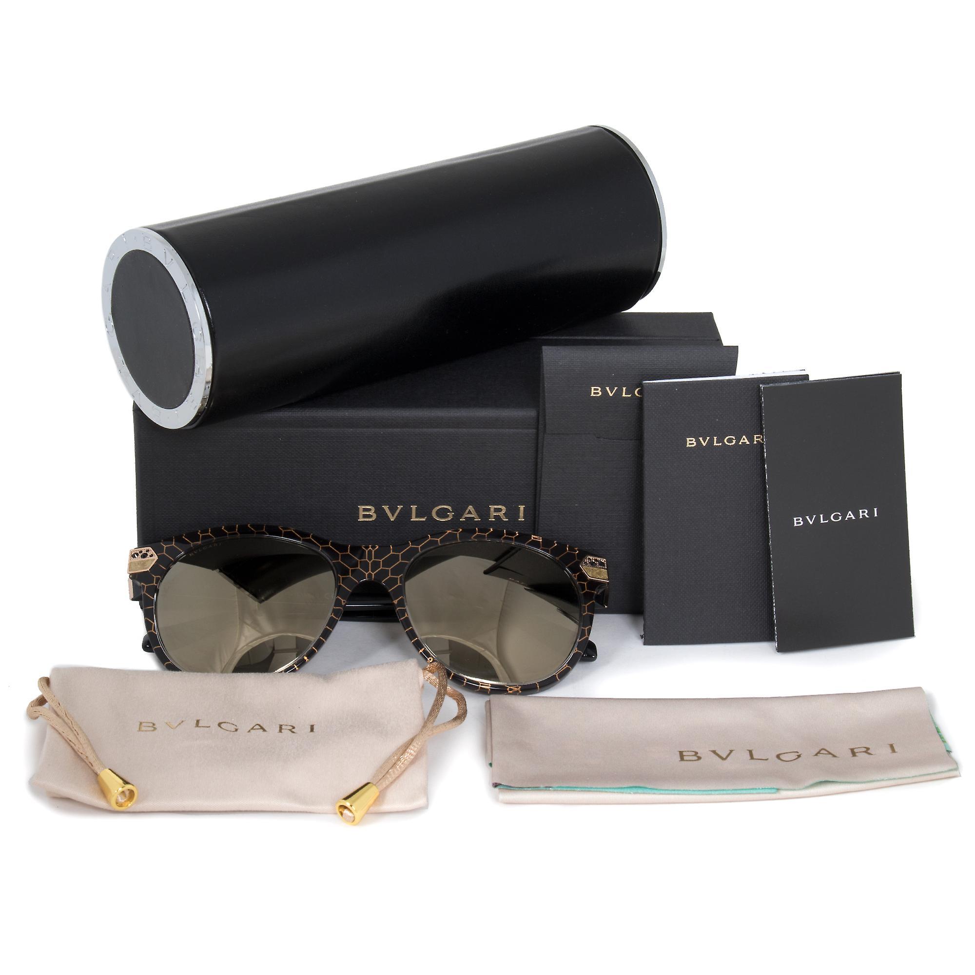 Bvlgari Cat Eye Sunglasses BV8185B 54215A 55 | Black Acetate Frame | Gold Mirror Lenses