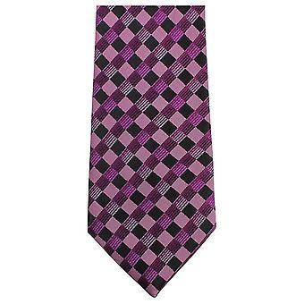 Knightsbridge Neckwear Bold Checked Tie - Purple/Black