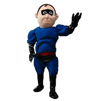 mascot SPOTSOUND superheroes in blue and black outfit with a headband