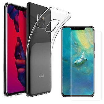 For Huawei kompis 20 Pro Silikoncase TPU gjennomsiktig + 0,3 4 d full buet H9 glass bag tilfelle beskyttende deksel