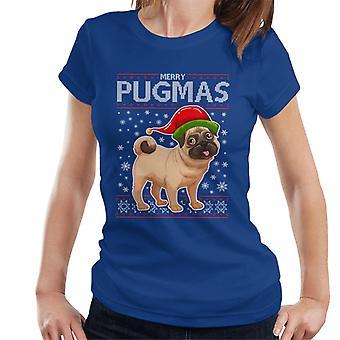 Joyeux Noël de Pugmas tricot T-Shirt modèle féminin