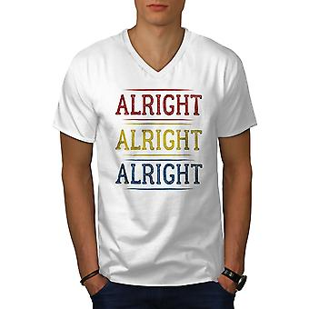 90s Alrigt Quote Men WhiteV-Neck T-shirt | Wellcoda