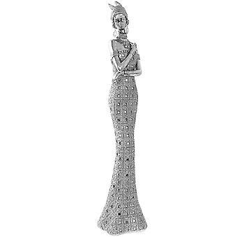 Silver Art Finish Masai Tribe Figurine 45Cm Home Decoration Ornament