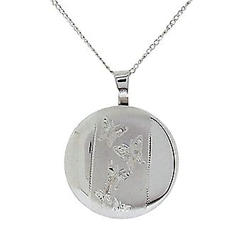 TOC Sterling Silver Butterfly Engraved Round Locket Necklace18