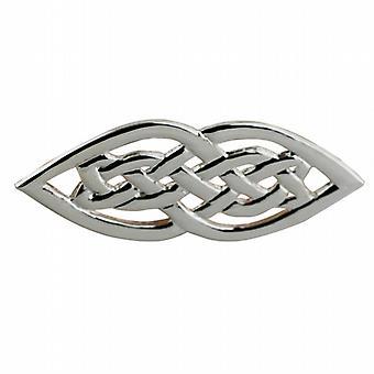 Sølv 21x40mm keltiske knude broche