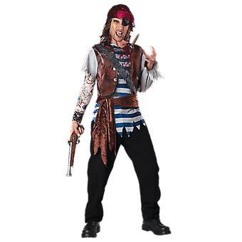 Mens Dead Man's Chest Pirate Sea Captain Halloween Fancy Dress Costume