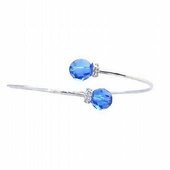 Saffier Swarovski kristallen draad armband w / Rondells