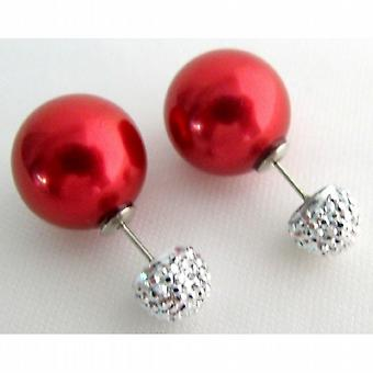 Front & Back Double Pearl Post Stud Earrings Red Pearl Pave Ball