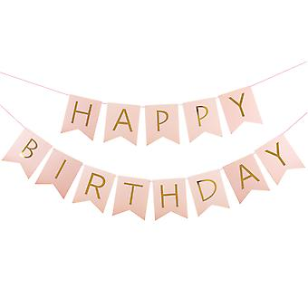 "TRIXES Pink 2.5m ""Happy Birthday"" Elegant Ribbon Garland Decoration with Gold Lettering"