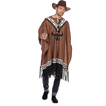 Ponczo zachodnich mężczyźni kostium cowboy dziki karnawał