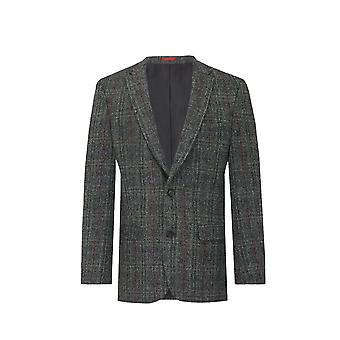 Scottish Harris Tweed Mens Grey with Red Overcheck Tweed Jacket Regular Fit 100% Wool Notch Lapel