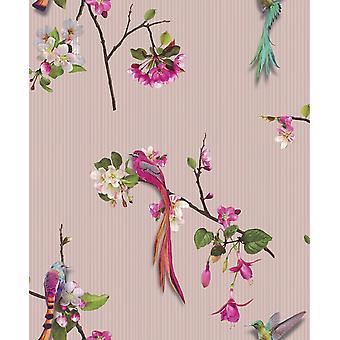 Chinees Oosterse vogels roze behang bloemen luxe textuur Vinyl Arthouse