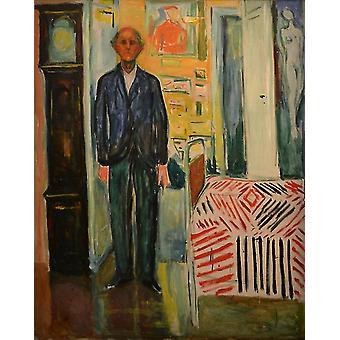 De figuur tussen klok en bed, Edvard Munch, 50x40cm