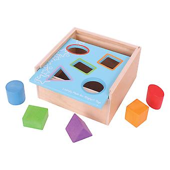 Bigjigs Toys Wooden My First Educational Posting Box Shape Sorting Learn