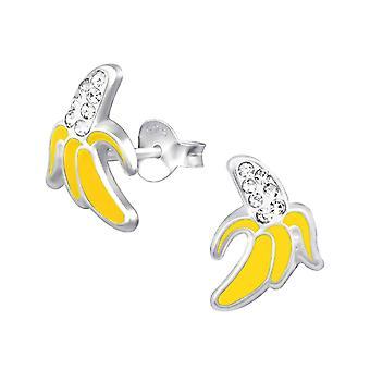 Children's Sterling Silver Banana Diamante Stud Earrings