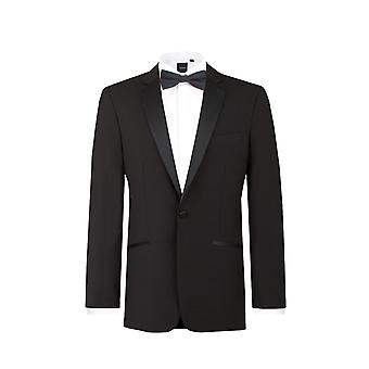 Dobell Mens smoking noir smoking Regular Fit 100 % laine Notch Lapel