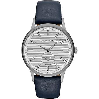 Emporio Armani Ar11119 Blue Leather Strap Steel Case Men's Watch