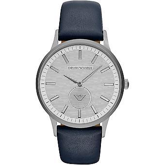 Emporio Armani Ar11119 Blue Leather Strap Steel Case Men's Watch