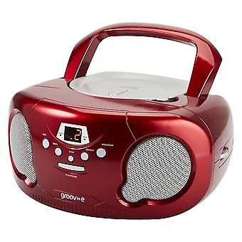 Groov-e Boombox Portable CD Player with Radio/Aux In/Headphone Red (GVPS733RD)