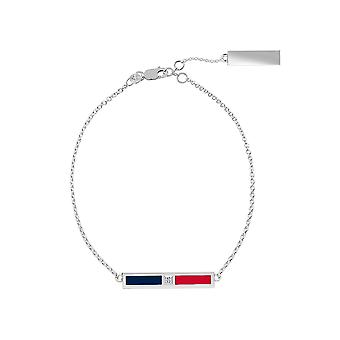 Columbus Blue Jackets Sterling Silver Diamond Bar Chain Bracelet In Blue and Red