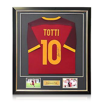 Francesco Totti underskrevet som Roma Football shirt 2015-16 autentisk. Indrammet