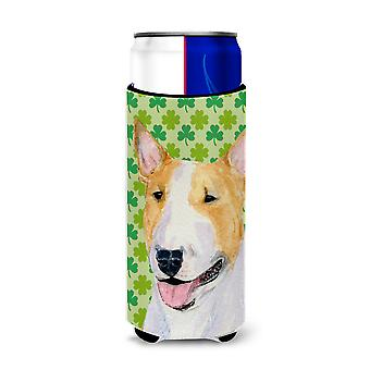 Bull Terrier St. Patrick's Day Shamrock Portrait Ultra Beverage Insulators for s