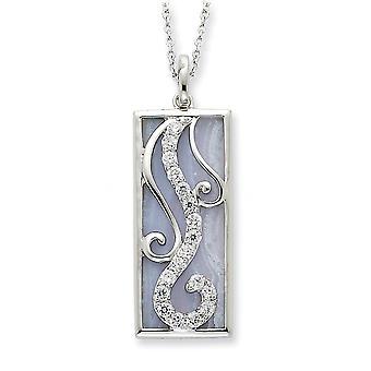 925 Sterling Zilver gepolijst Gift Boxed Spring Ring Rhodium verguld blauwe kant Agate en CZ Cubic Zirconia Gesimuleerde Diamo