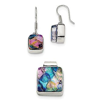 925 Sterling Silver Dangle Handcrafted Shepherd hook Pink and Blue Dichroic Glass Square Earrings and Pendant Necklace S