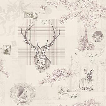 Richmond Highland Stag wallpaper Heather e Dove Grey World of wallpaper 50165