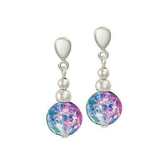 Eeuwige collectie Dominica Aqua en roze Crackle zilveren Toon drop schroef terug clip op oorbellen