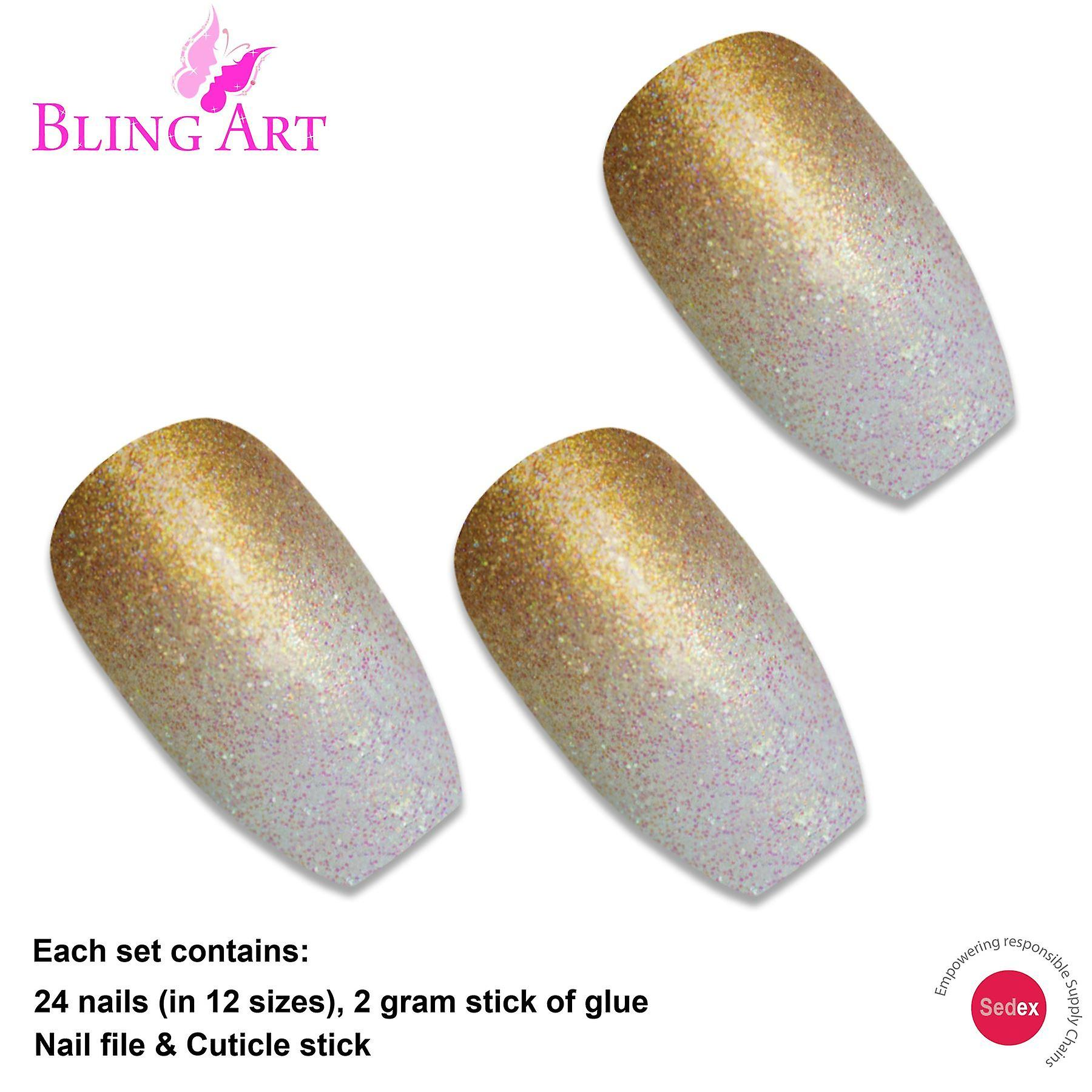 False nails by bling art gold gel ombre ballerina coffin 24 fake acrylic tips