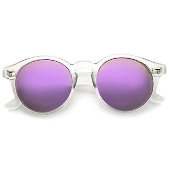 Retro Translucent Frame Color Mirror Lens Round Horn Rimmed Sunglasses 50mm