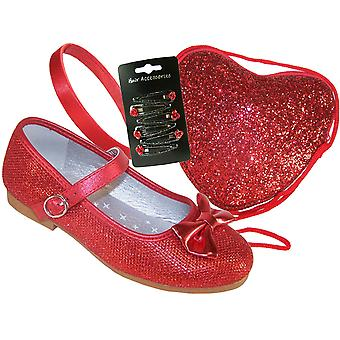 Girls red sparkly flat shoes with red bag - Gift Set