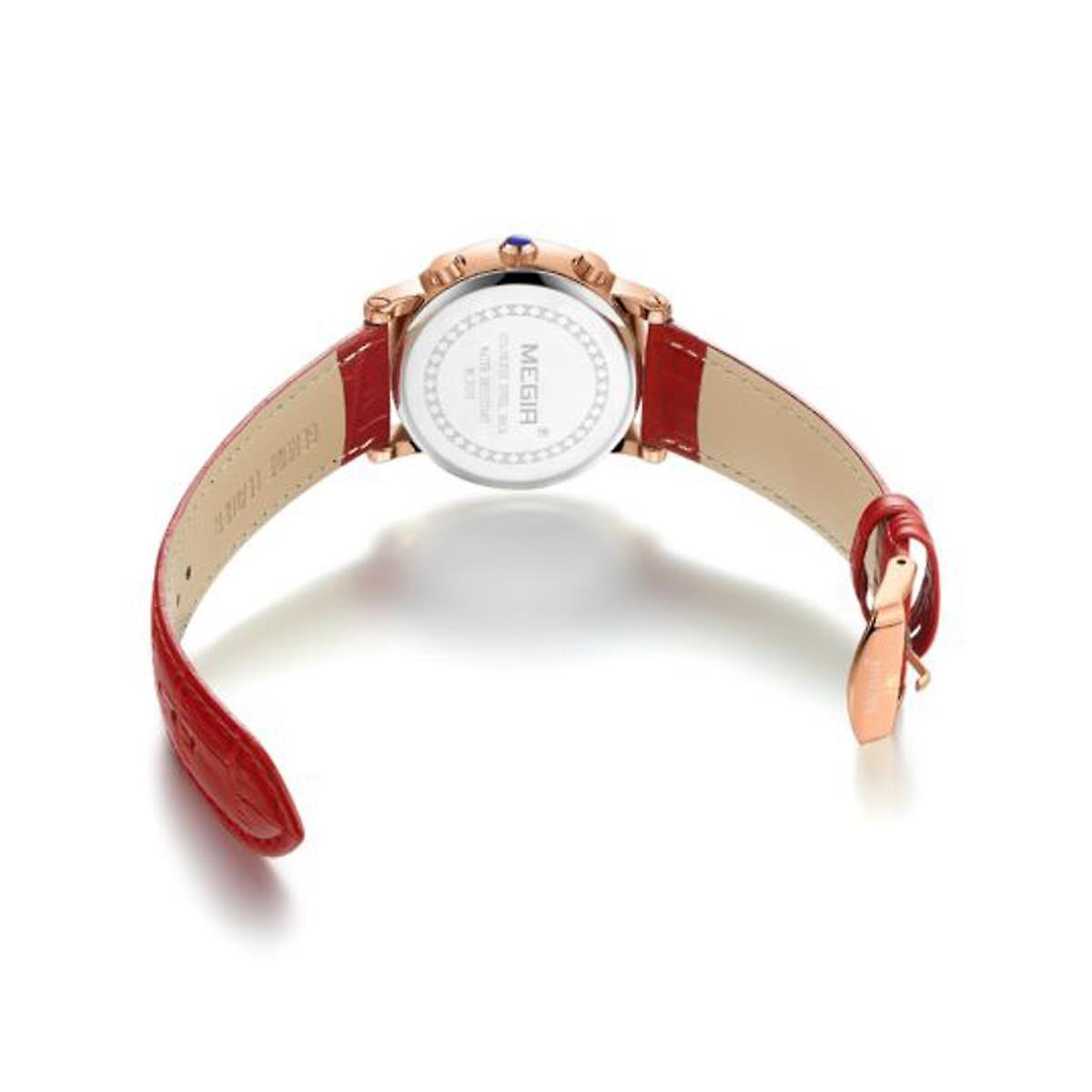 Megir Ladies Round Quartz Analogue Watch Red Rose Gold Smart Watches Leather